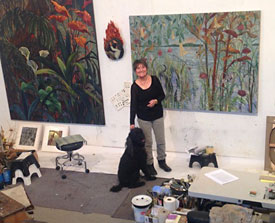 Jane Abrams in her studio with her dog, Bindi