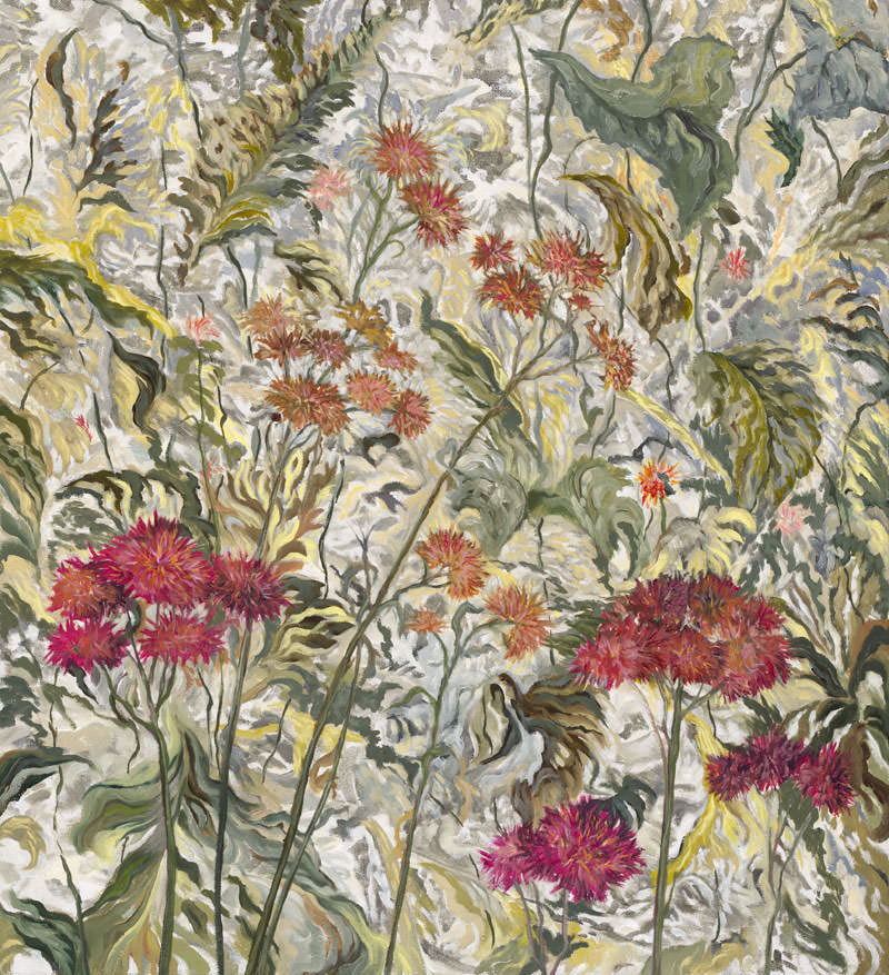Red Thistle Tapestry by Jane Abrams